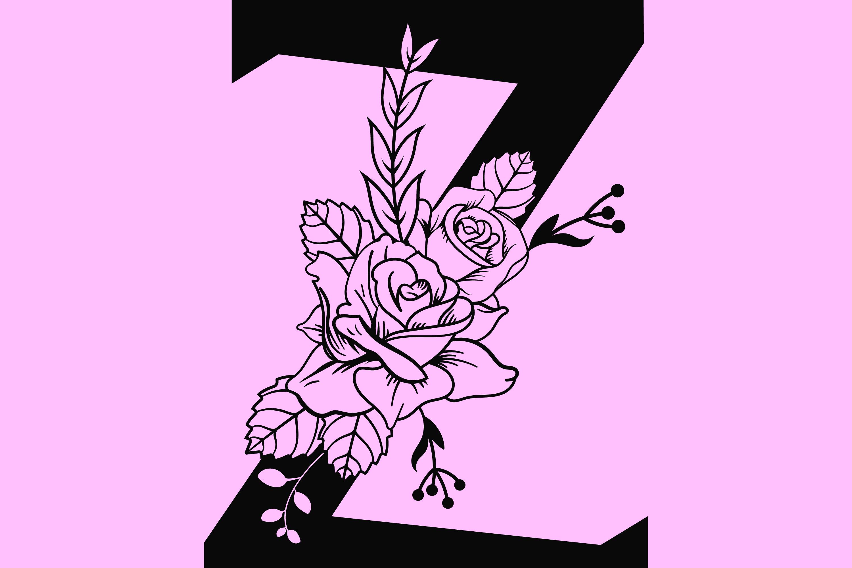 Floral Alphabet SVG example image 3