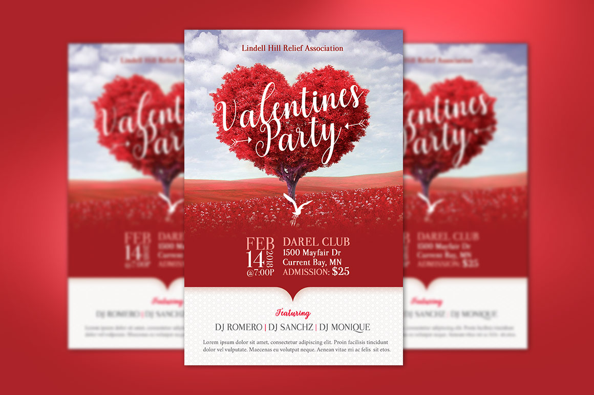Tree Heart Valentines Party Flyer Template example image 2