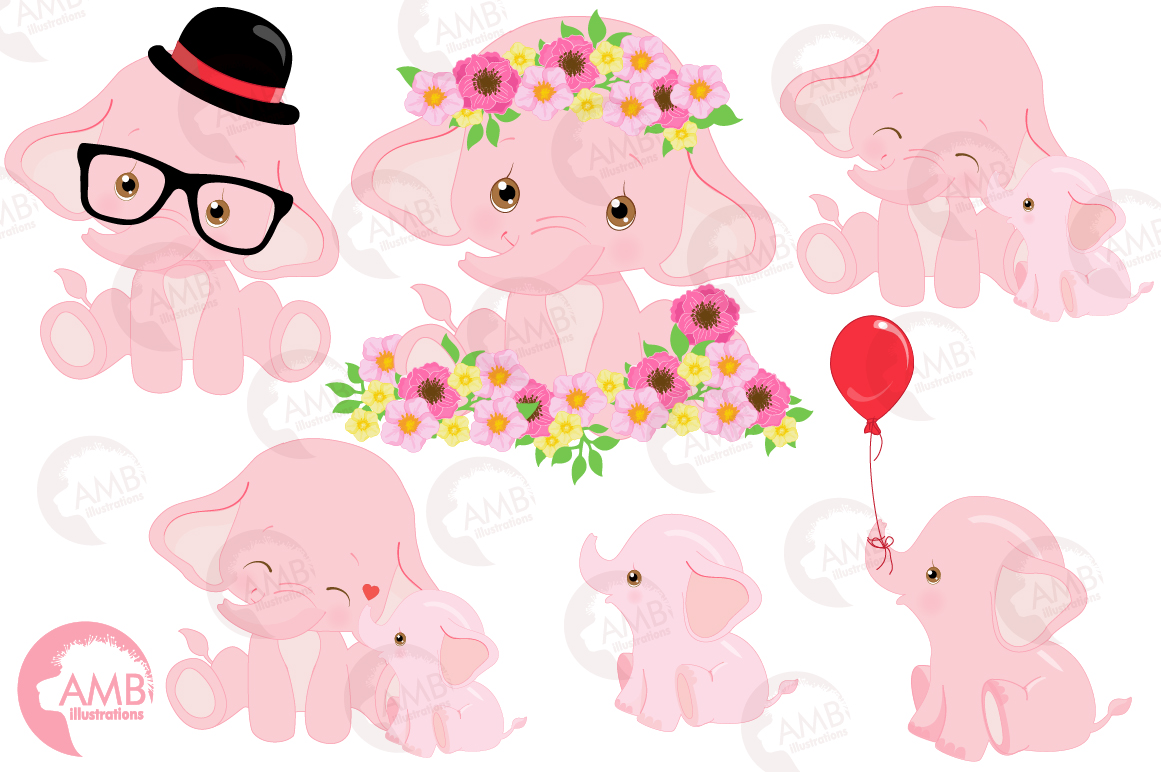 ELEPHANT babies in pink! BUNDLE! 53 cliparts, graphics and illustrations and Patterns AMB-2276 example image 6