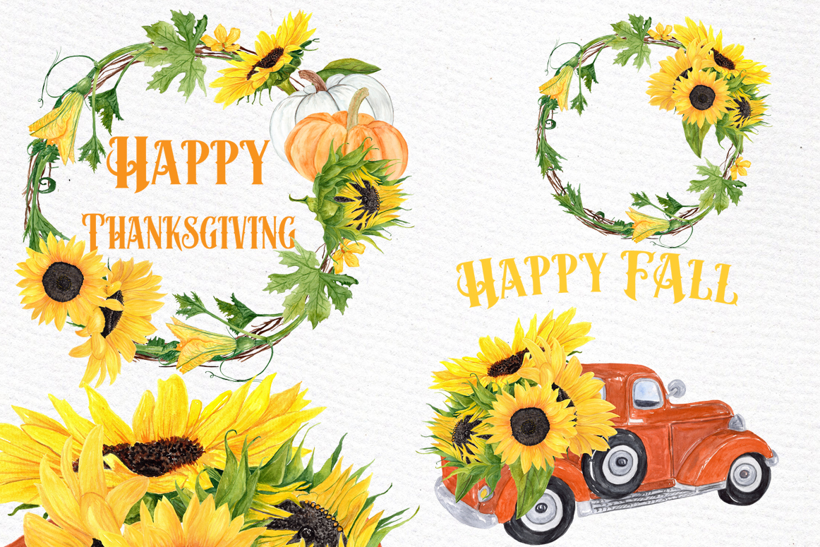 Sunflower clipart, SUNFLOWER WREATHS, Thanksgiving clipart example image 1