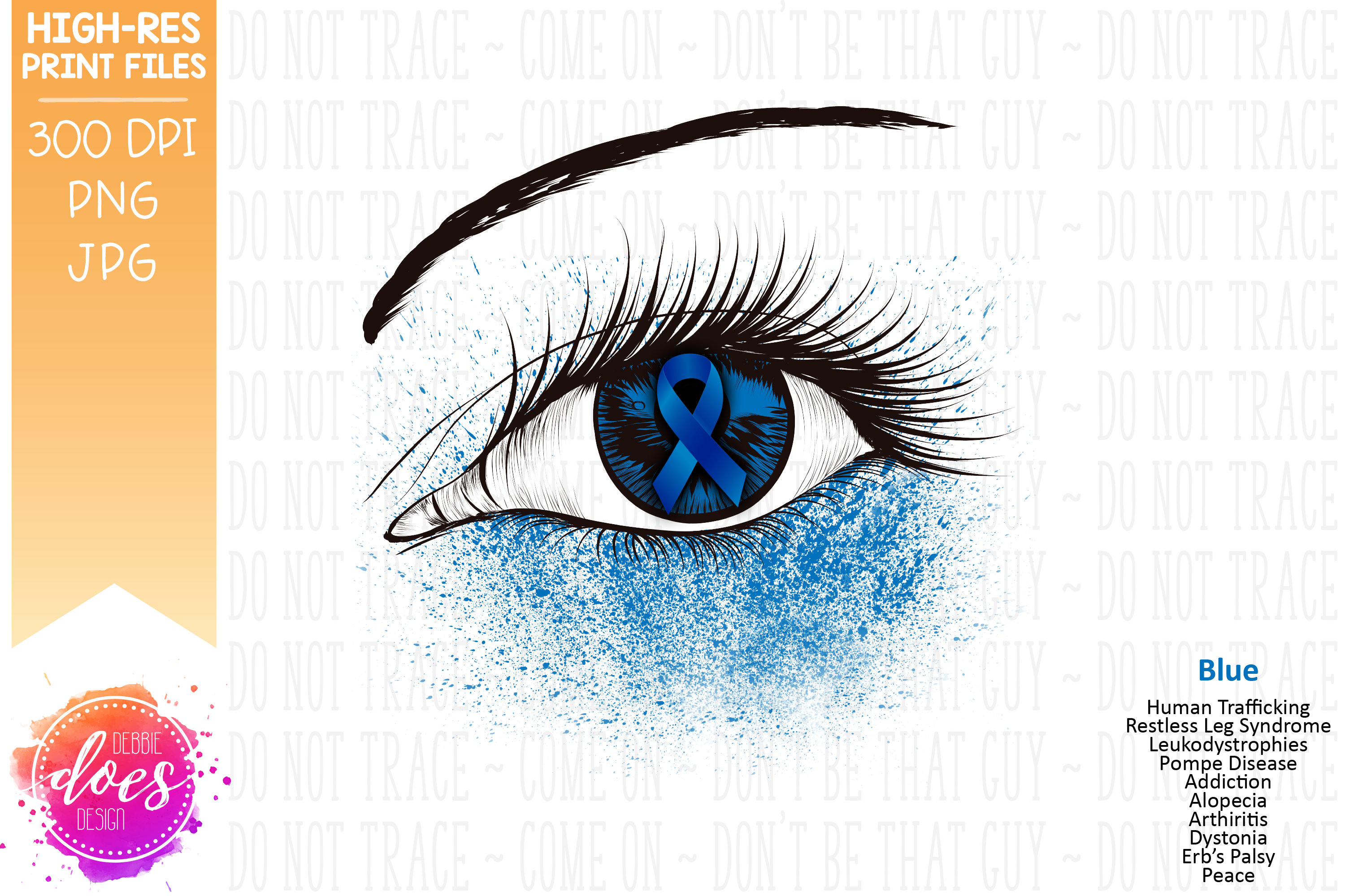 Blue Awareness Ribbon Eye - Printable Design example image 2