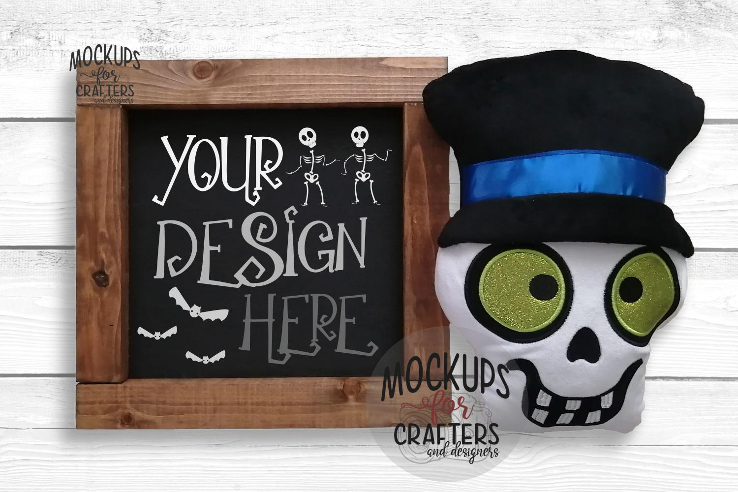 Wood Sign Mock-Up - Halloween theme - Dollarama Stuffie example image 1