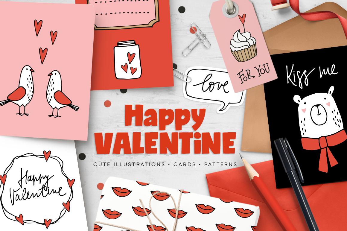 Happy Valentine graphic set example image 1