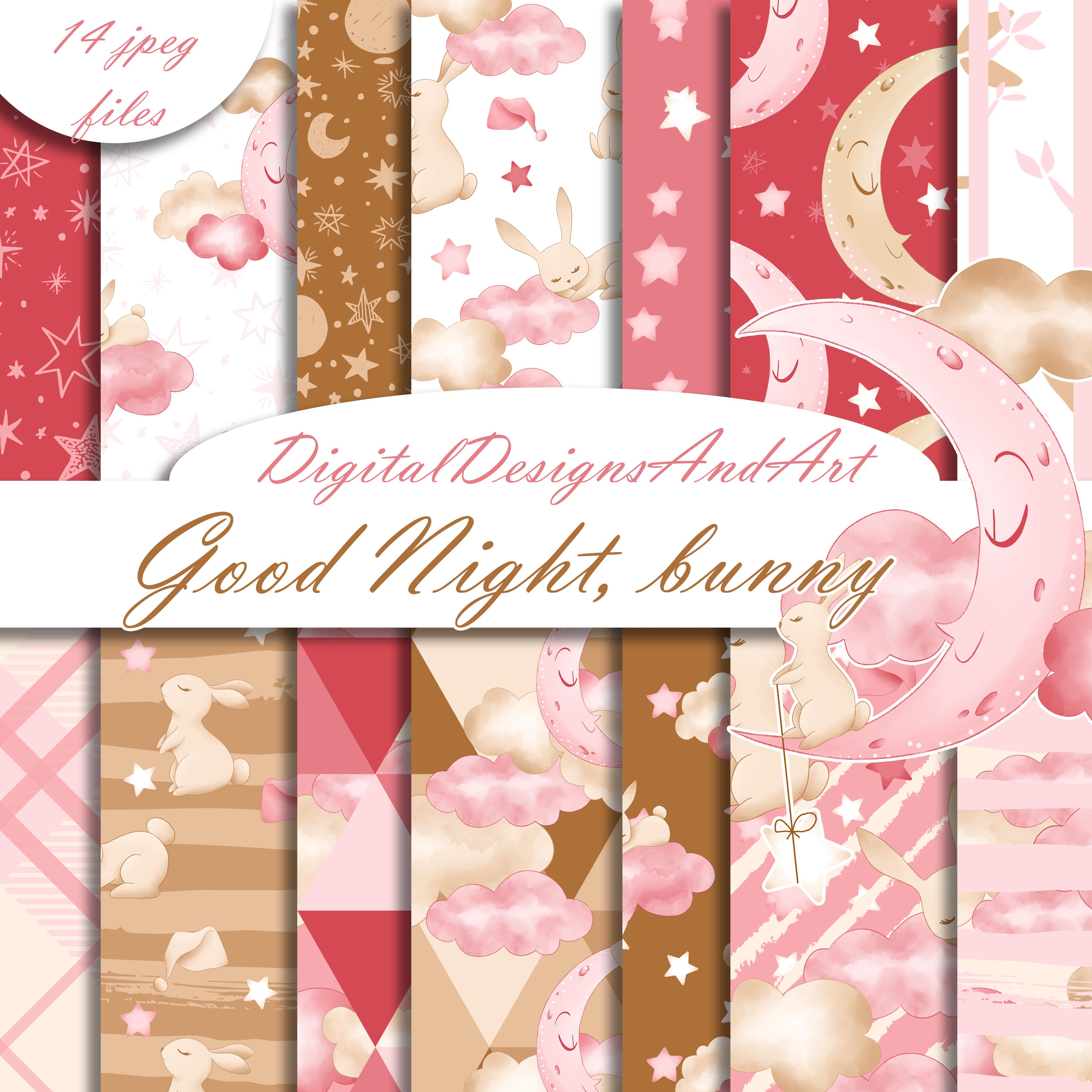 Good night bunny pattern in pink example image 1