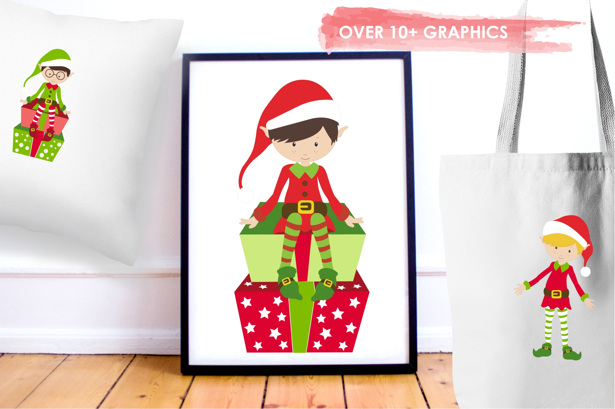 Elves and Gifts graphics and illustrations example image 5