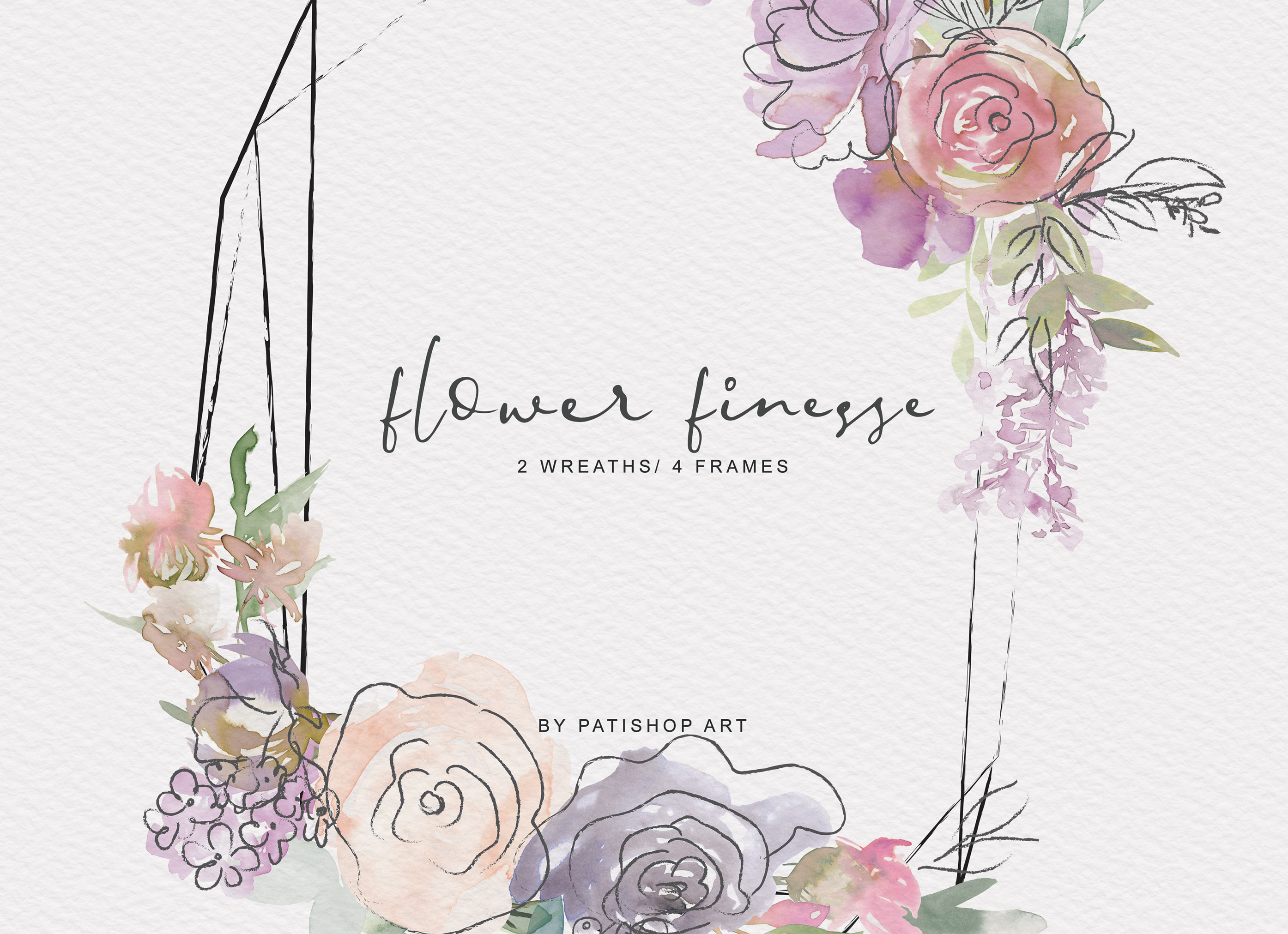 Watercolor Pastels Flowers Clipart Flower Doodles Set example image 14