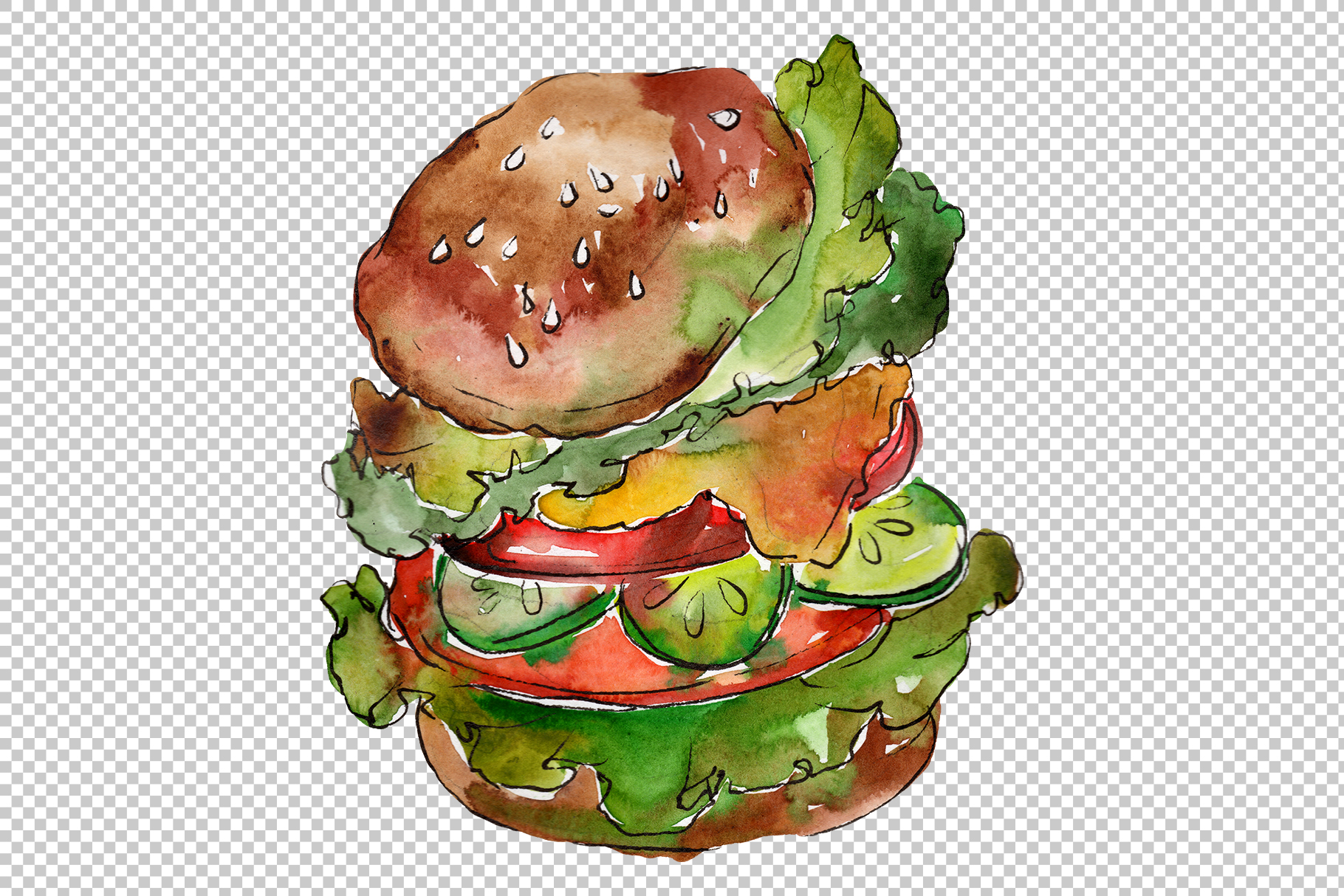 Hamburger for gentleman watercolor png example image 3