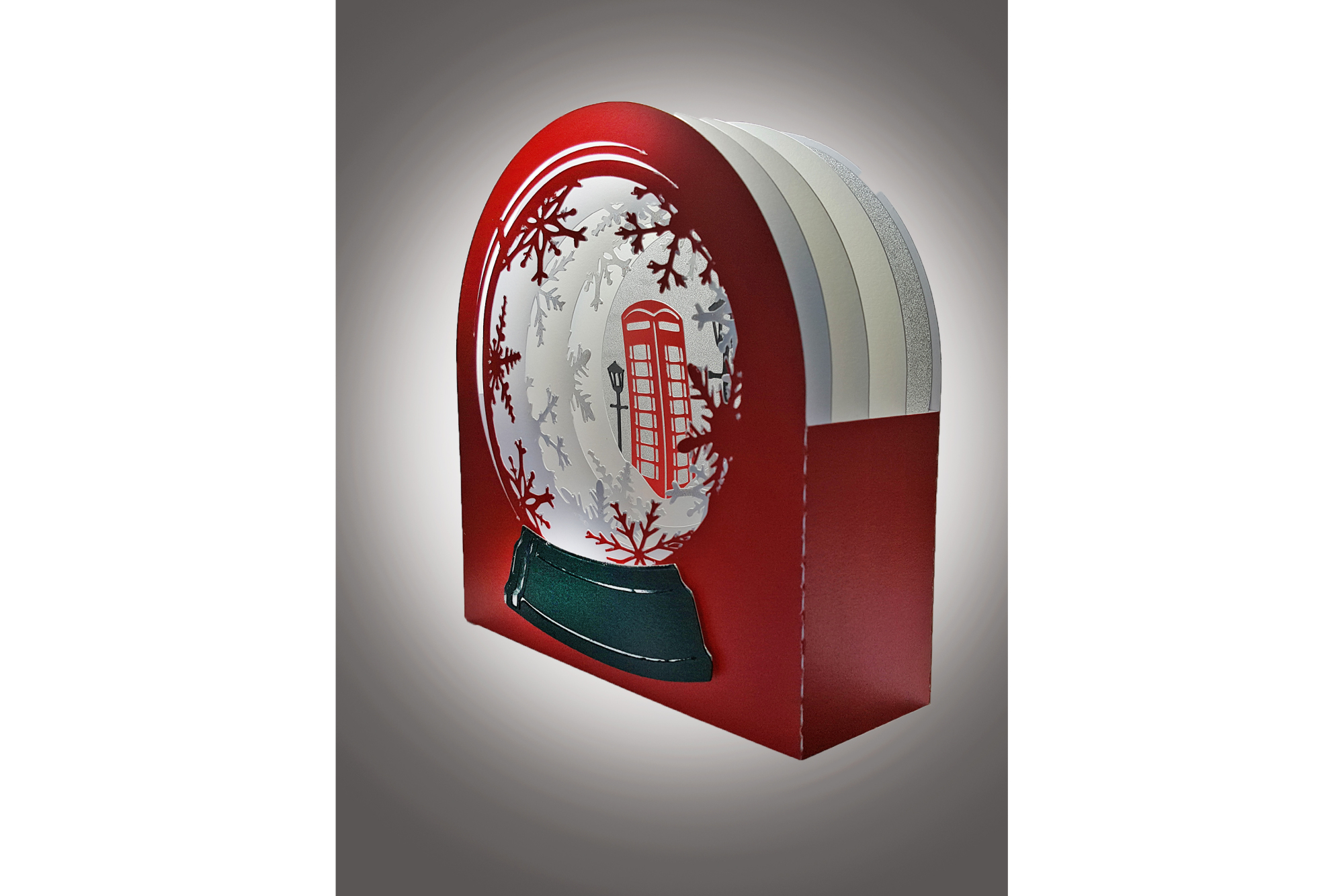 3D Snow Globe Classic Red Telephone Box greetings card example image 3