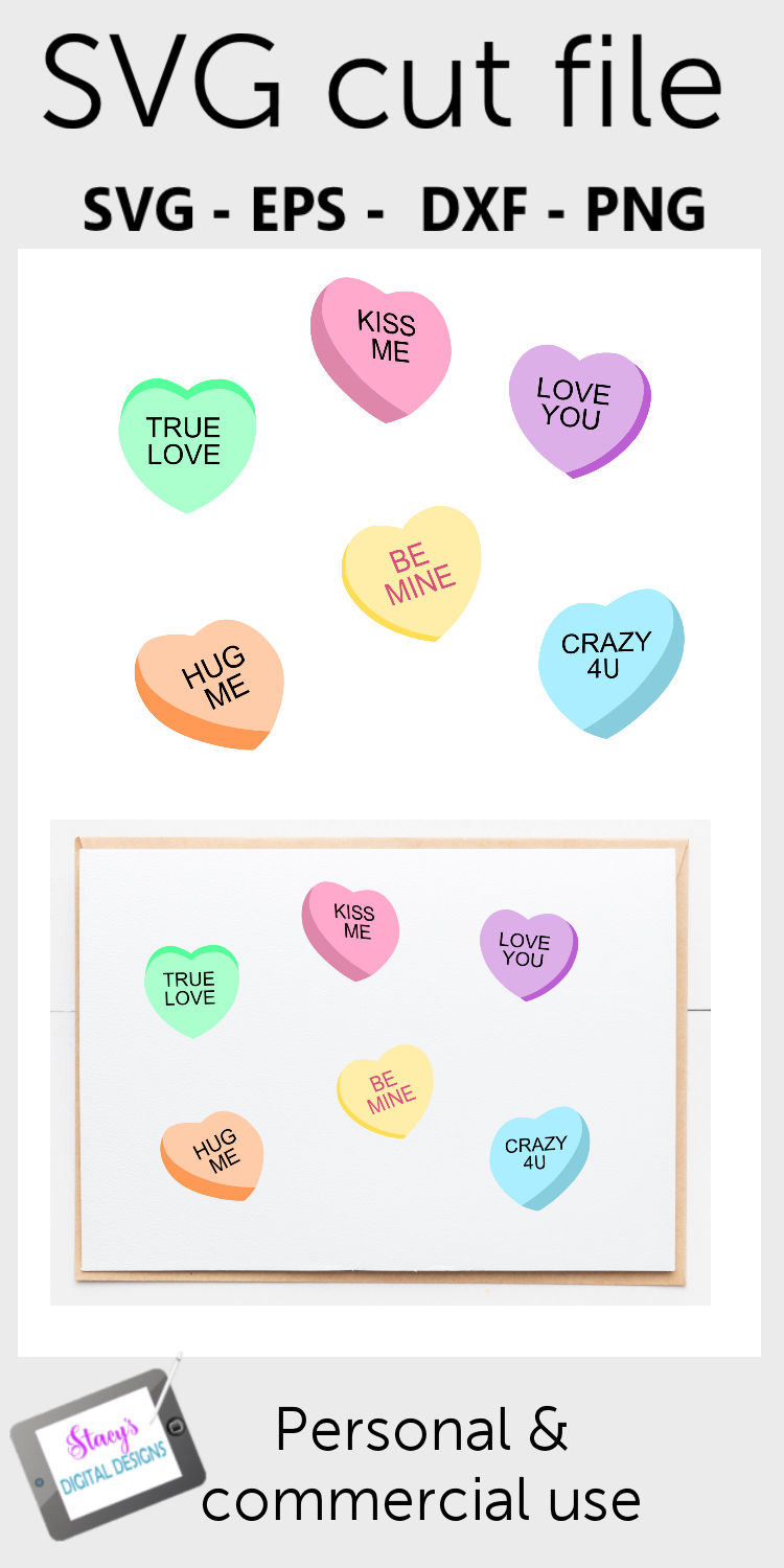 Candy Conversation Hearts Valentine SVG example image 2