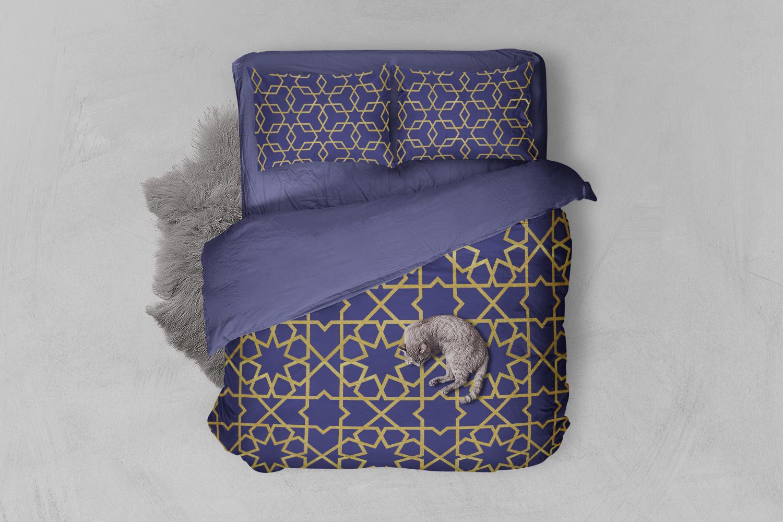 8 Seamless Moroccan Patterns - Gold & Cobalt Blue Set 1 example image 2