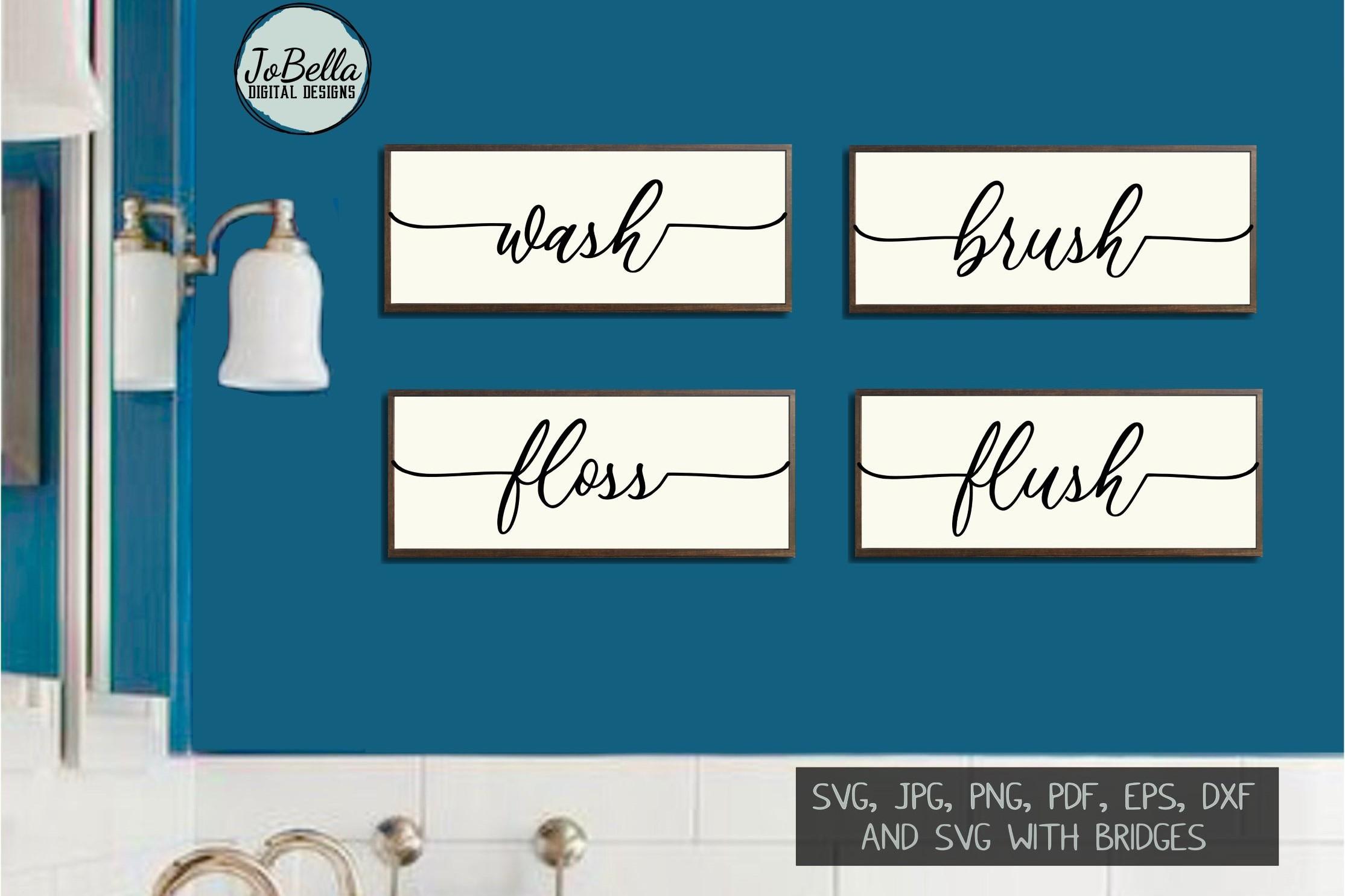 Wash Brush Floss Flush Bathroom SVG and Printable Design example image 1