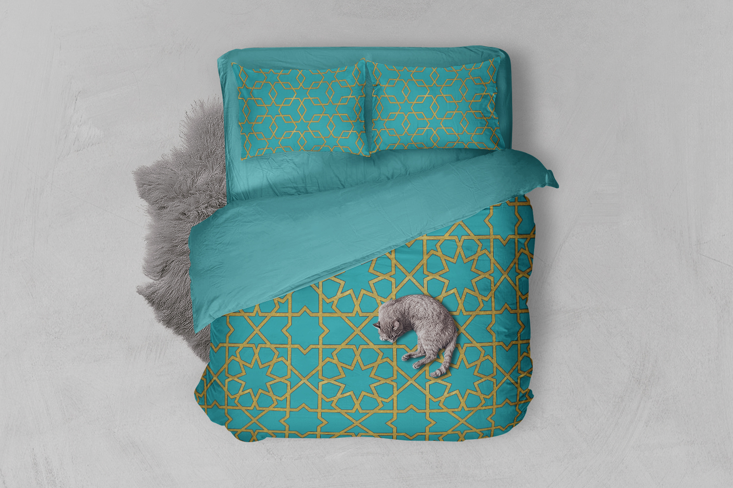 8 Seamless Moroccan Patterns - Gold & Turquoise example image 2