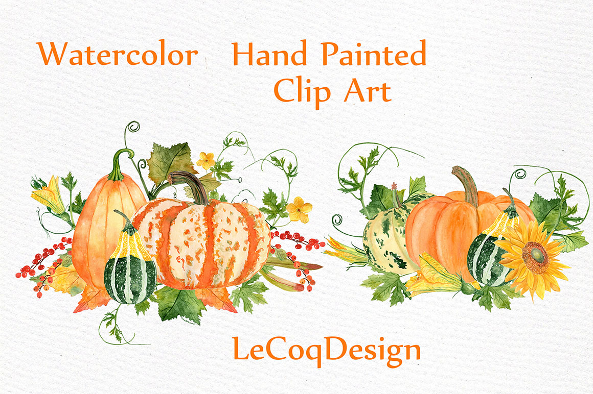 Watercolor pumpkin clipart example image 5