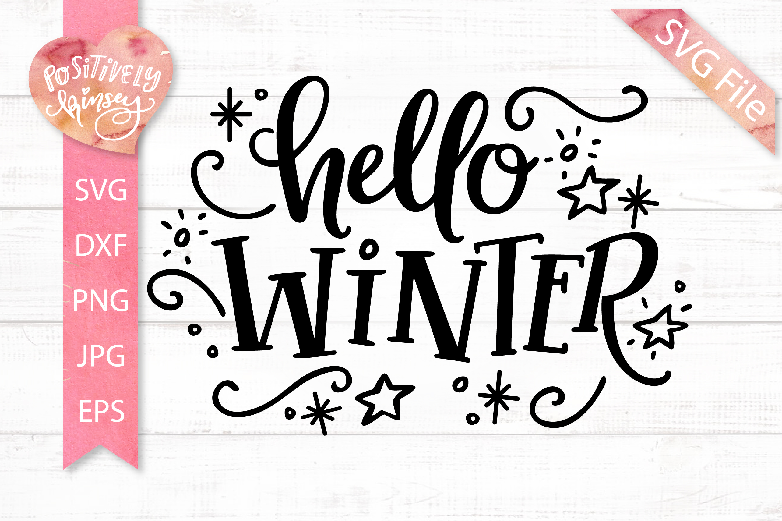 Hello Winter SVG DXF PNG EPS, Winter Sign SVG Design example image 1