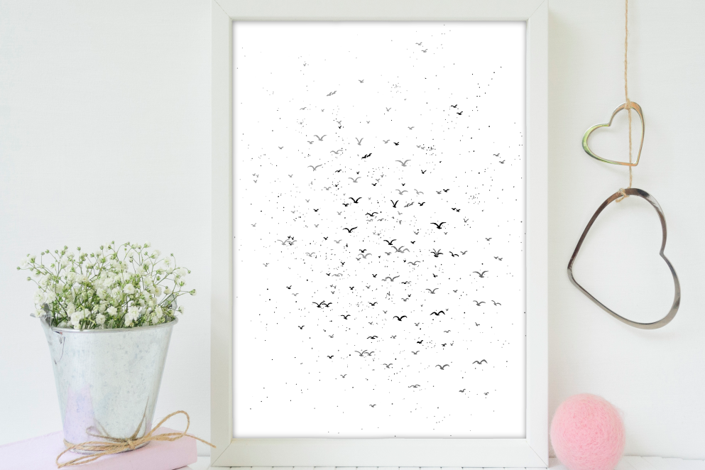 A flock of birds in the sky Art, A1, SVG example image 5