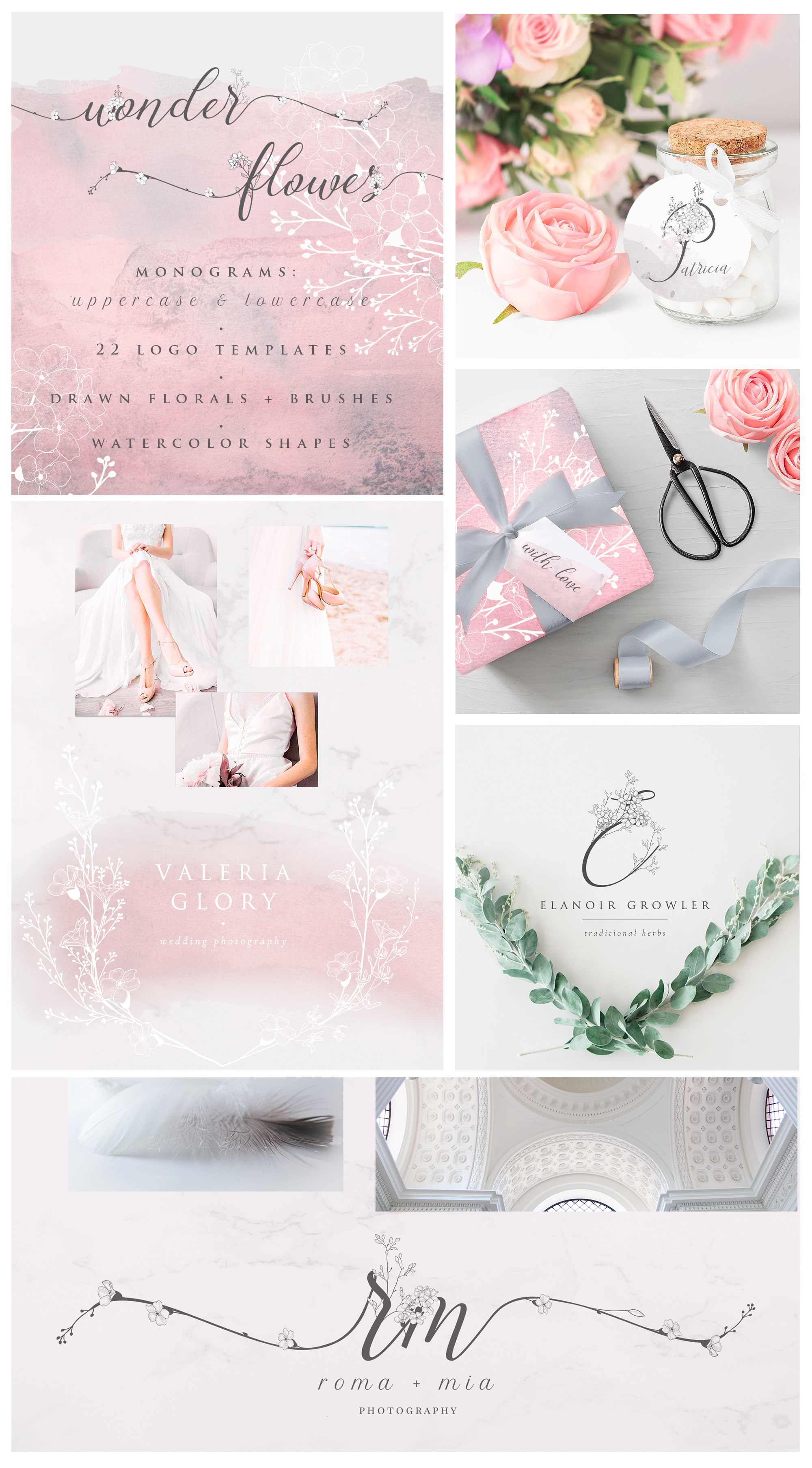 Flowered Monograms & Logo Collection example image 2