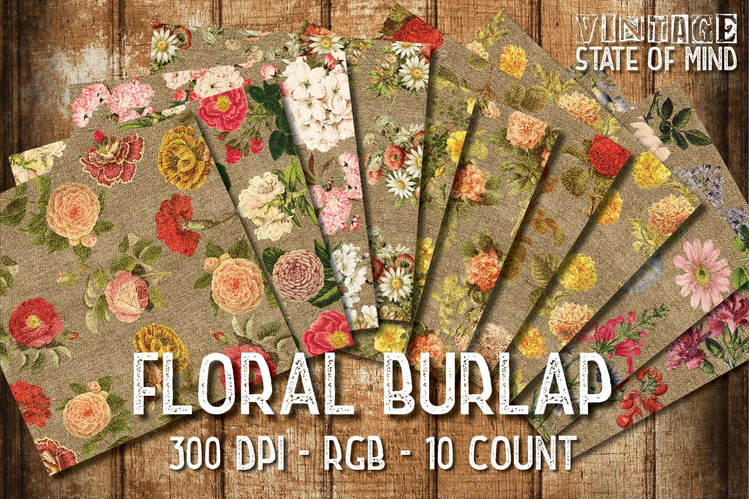 Floral Burlap Digital Papers example image 2