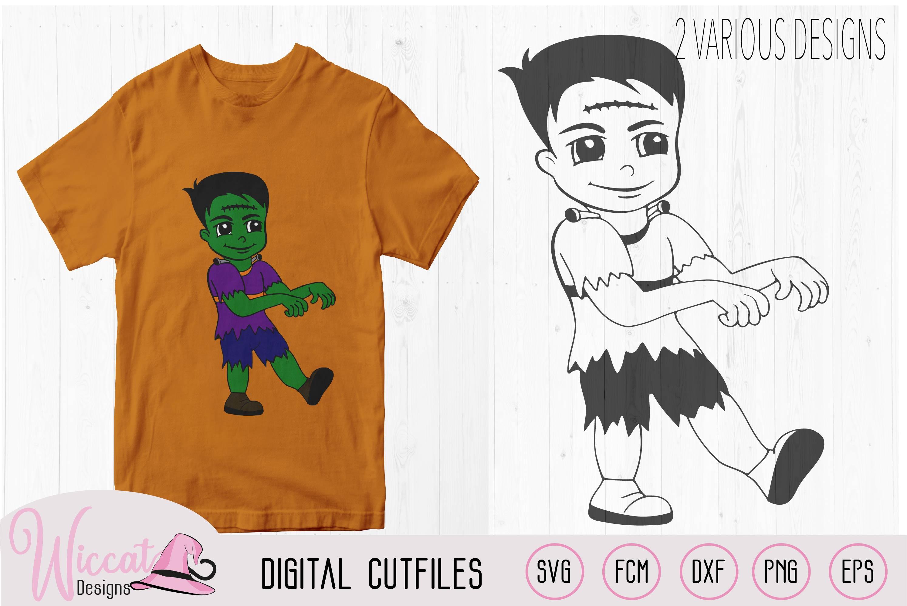 Frankenstein boy, boys Halloween svg, cartoon T shirt svg, example image 1