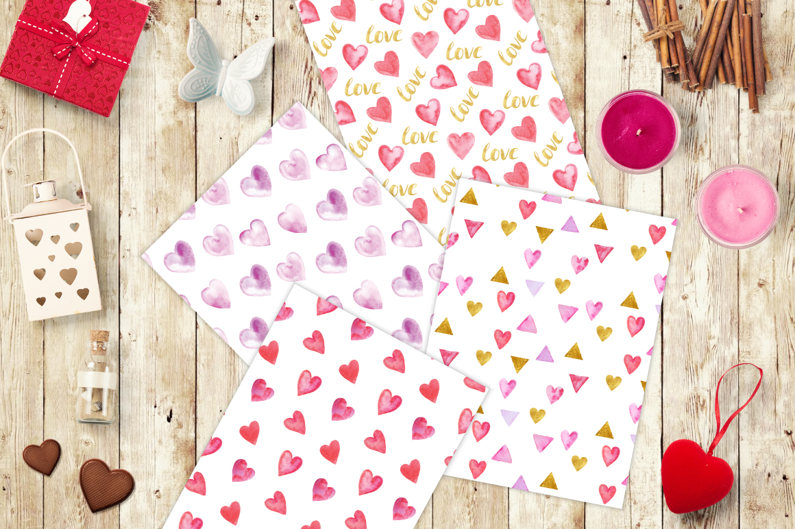 12 Watercolor Valentines Patterns example image 5