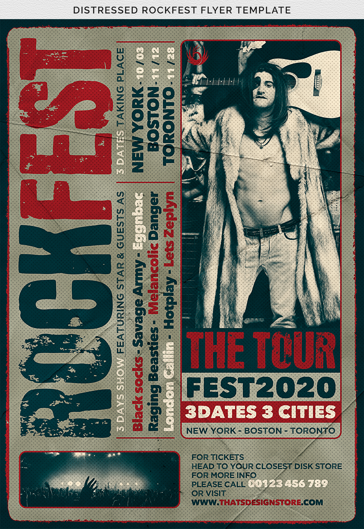 Distressed Rockfest Flyer Template example image 11