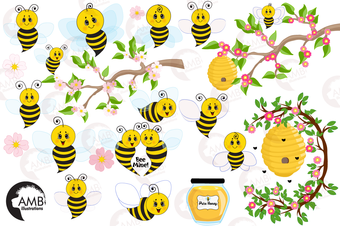 Bumble bee cliparts, graphics, illustrations AMB-921 example image 4