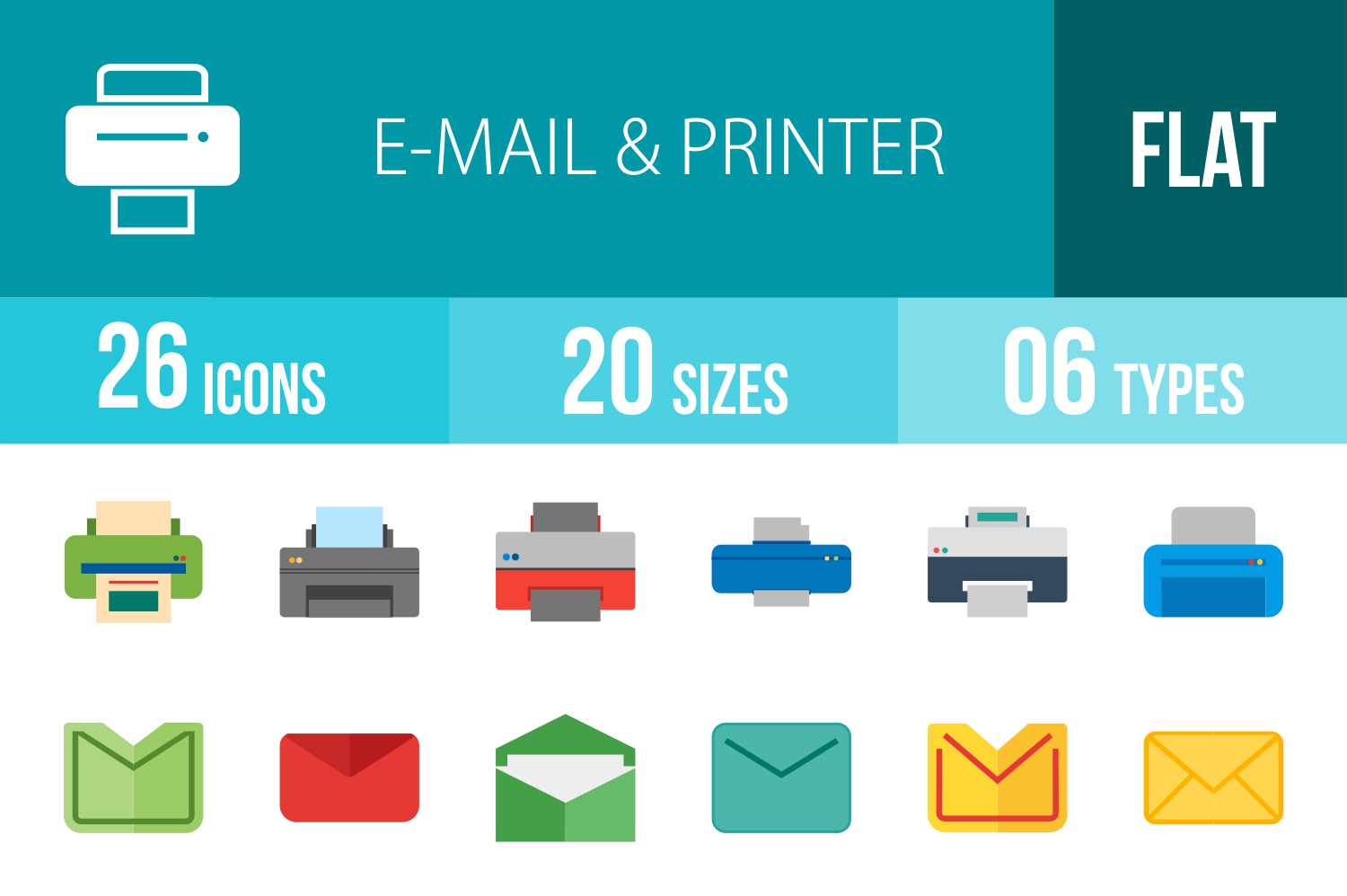 26 Email & Printer Flat Multicolor Icons example image 1