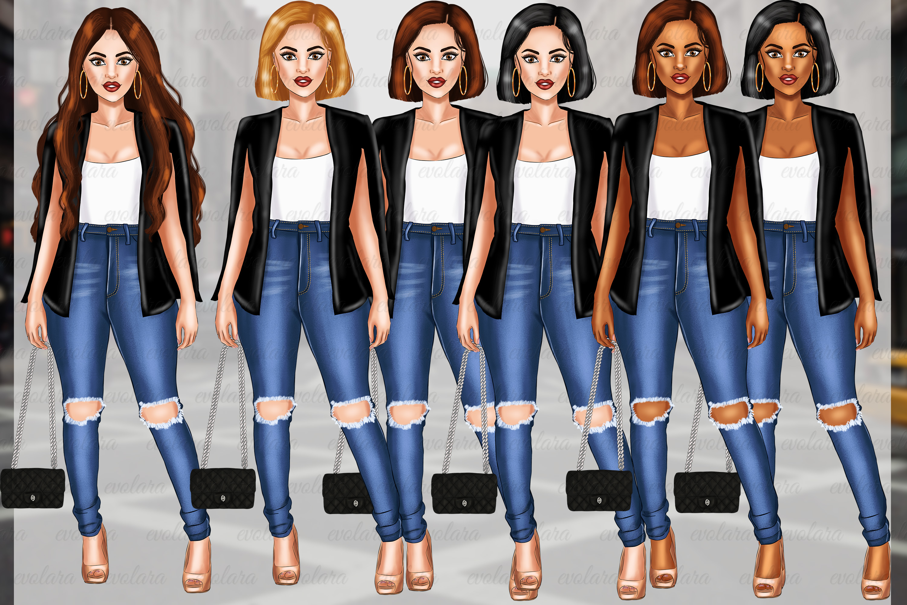 Girl Boss Clipart Fashion Girls Clipart African American example image 4