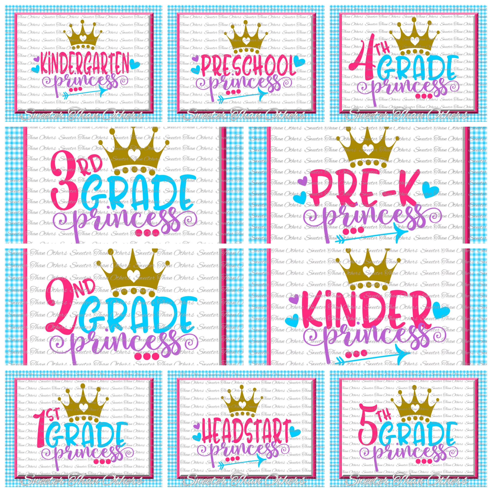 School Princess SVG Bundle Kindergarten First Day of School example image 1