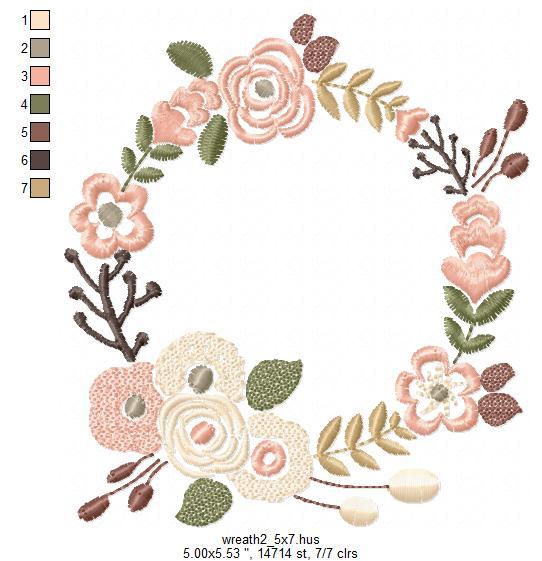 Floral Wreath Font Frame Monogram Design - EMBROIDERY DESIGN FILE - Instant download - Vp3 Hus Dst Exp Jef Pes formats 5 sizes 3,4,5,6,7inch example image 8