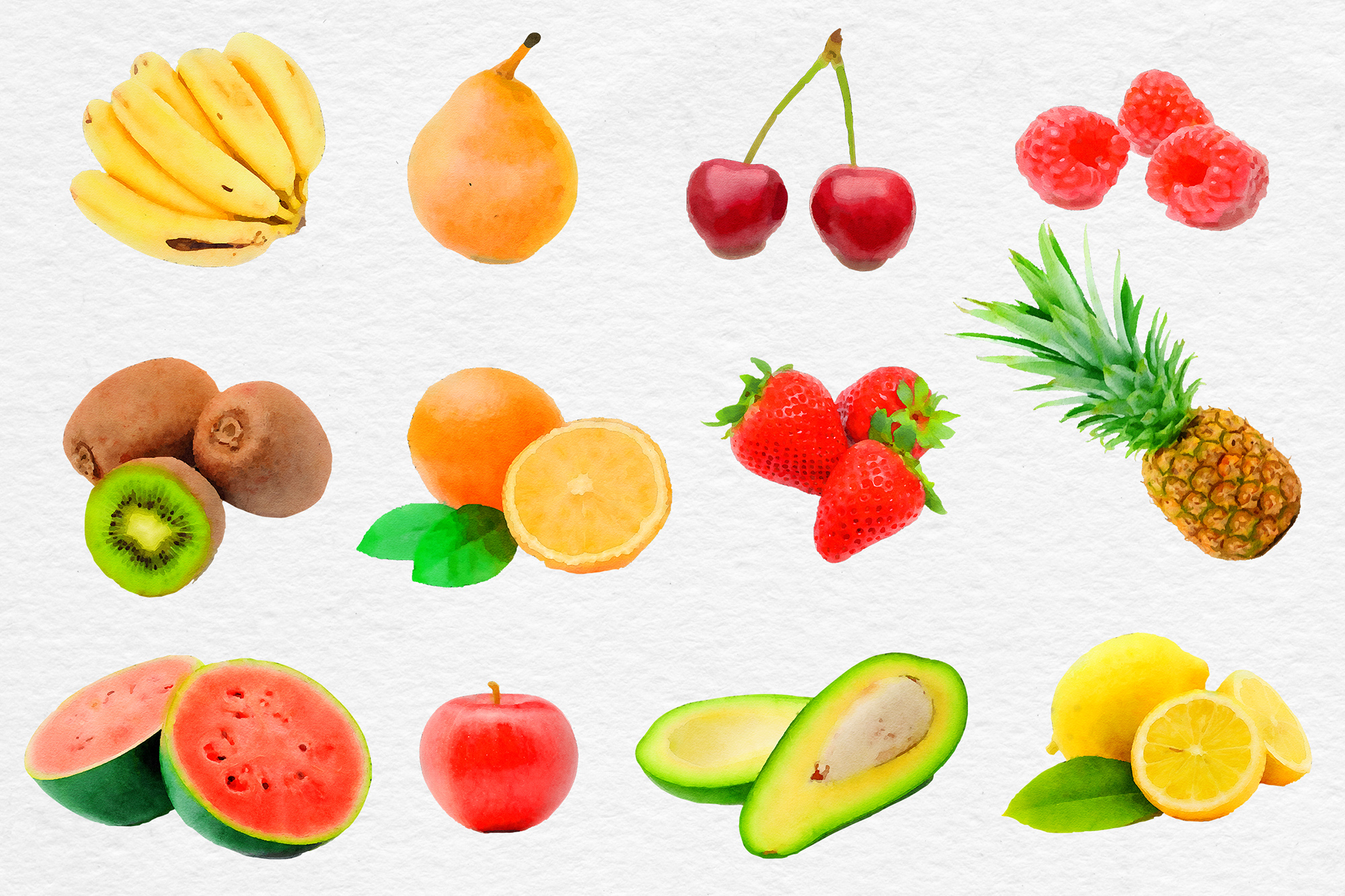 Watercolor Fruits Clipart, Fresh Fruit Clipart example image 2