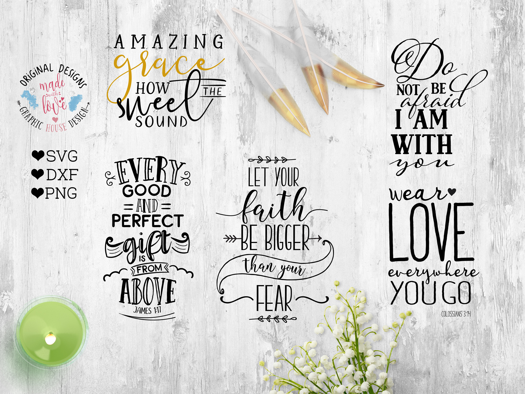 Bible Verse & Scripture Bundle Cutting Files SVG, DXF, PNG example image 1