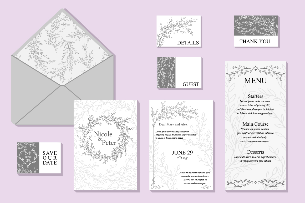 Wedding Vector Invitation Suite example image 1