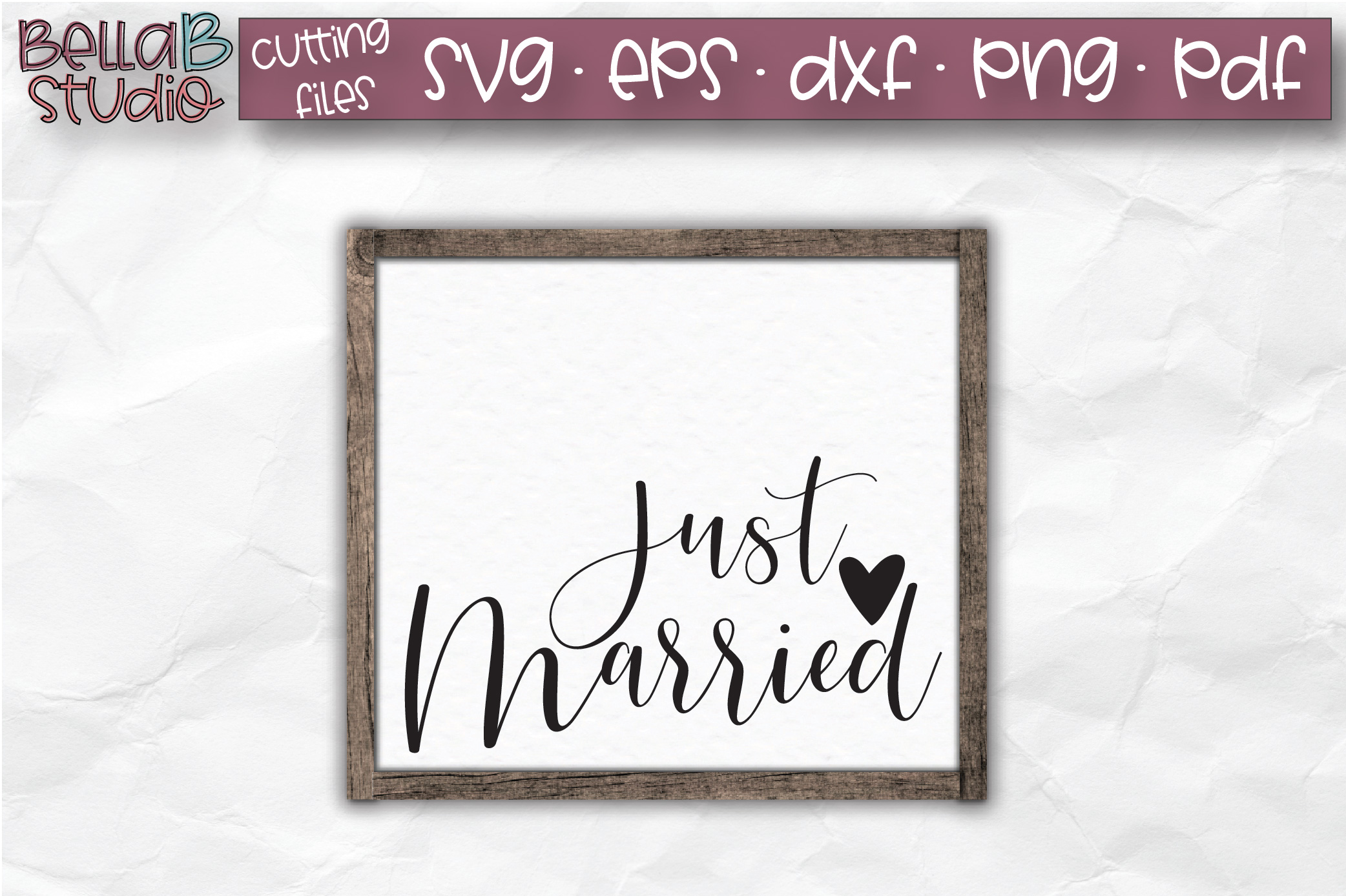 Wedding Sign SVG, Just Married SVG File example image 1