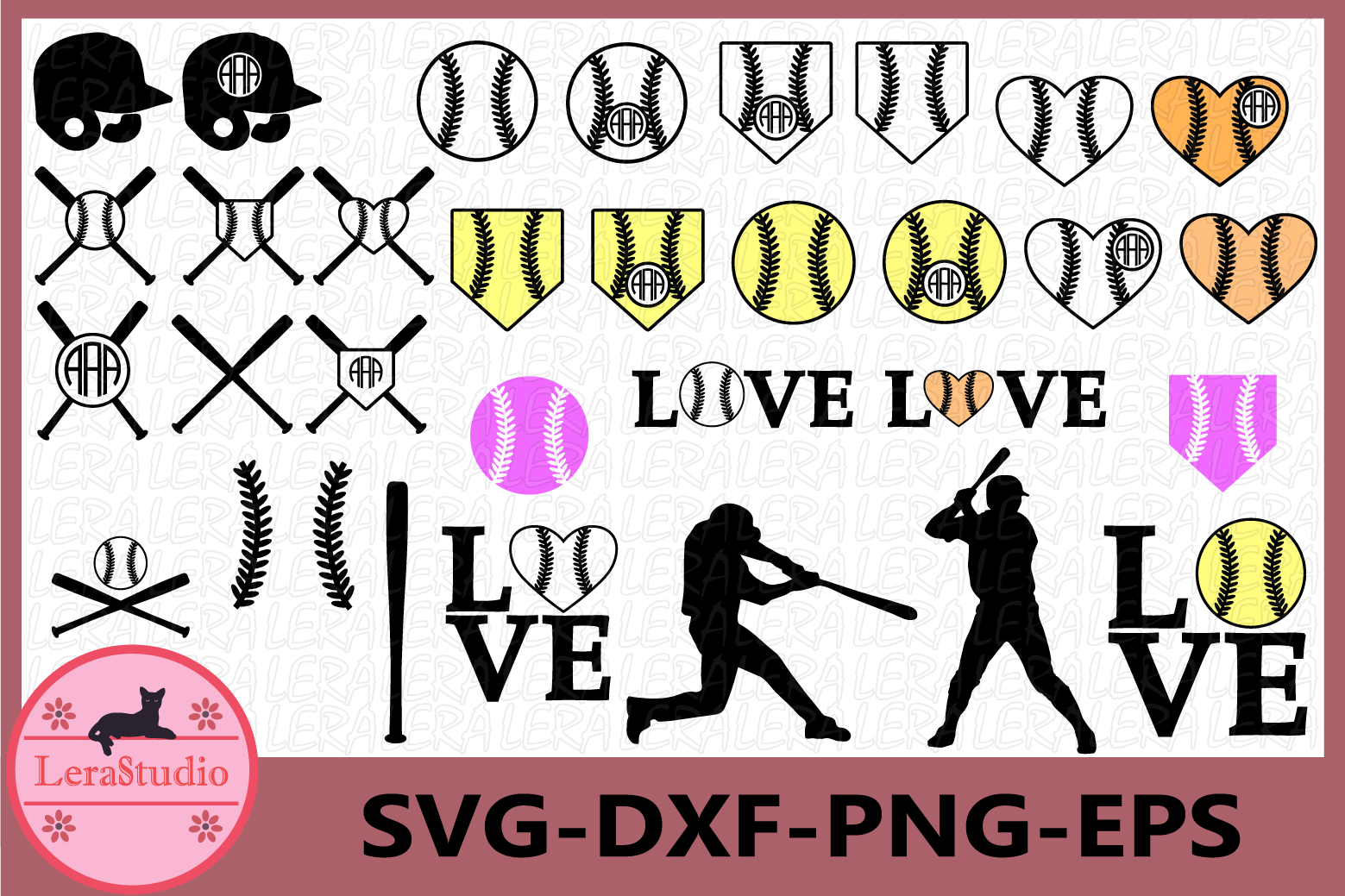 Baseball SVG, Baseball Monogram Svg, Baseball Clipart,Vector example image 1