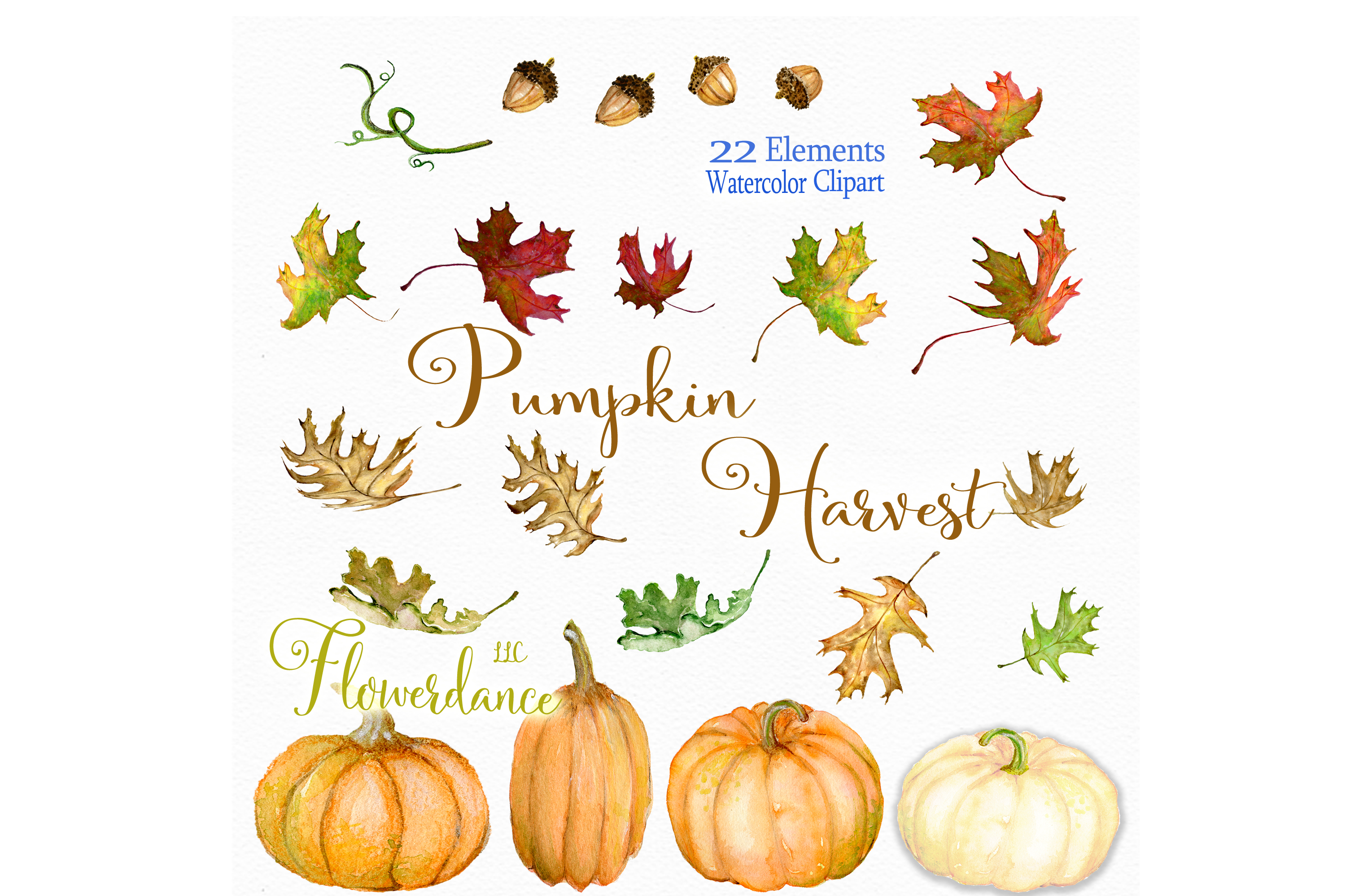 Watercolor Pumpkin Clipart, Fall, Harvest, Transparent PNG example image 2