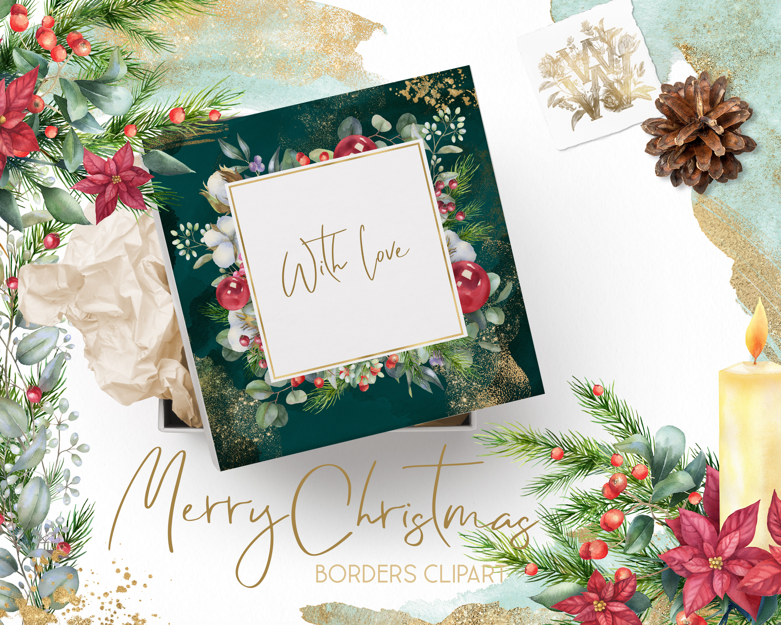 Christmas watercolor border, Poinsettia wedding Bouquet png example image 7