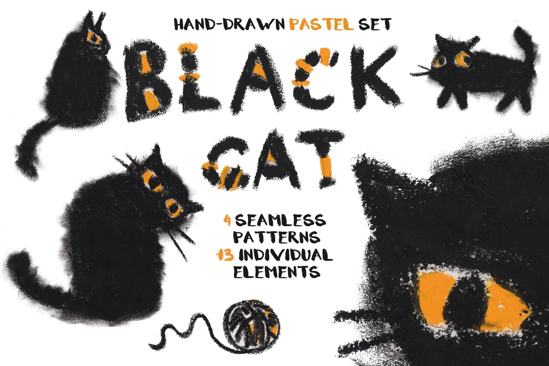 Black cat hand-drawn pastel set example image 1