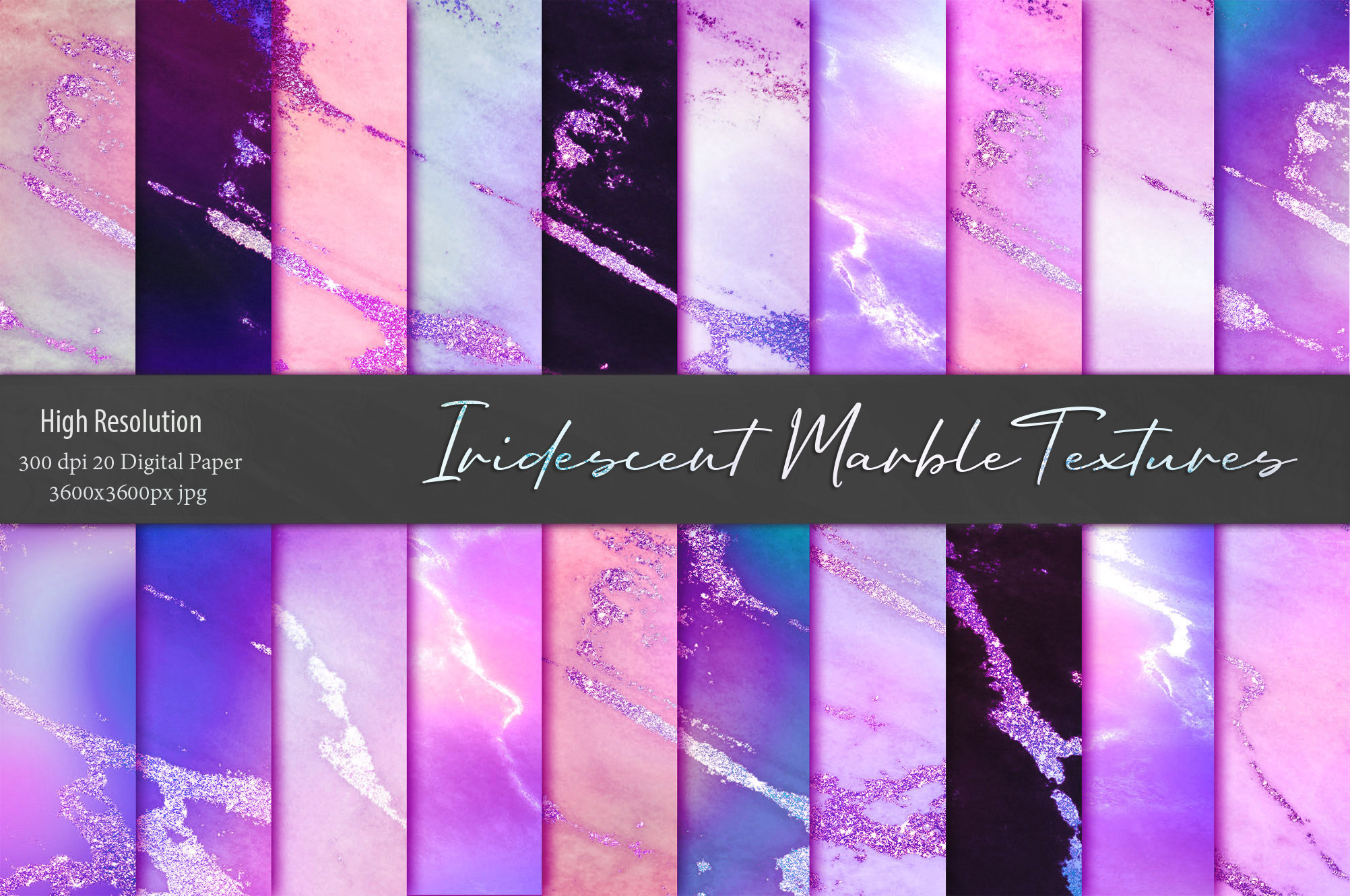 Iridescent Marble and Glitter Textures BUNDLE example image 14