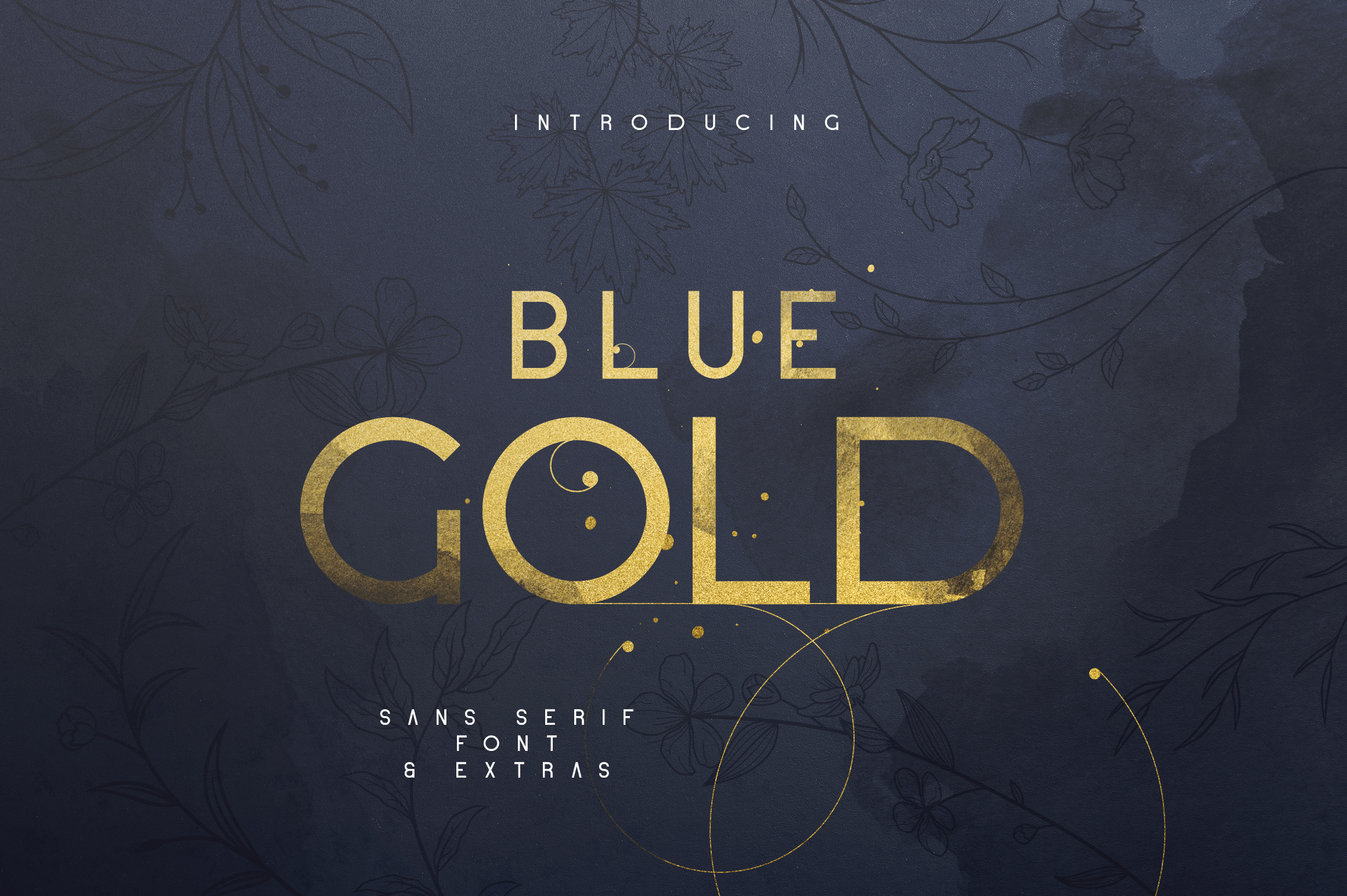 Blue Gold sans serif font Extras example image 1