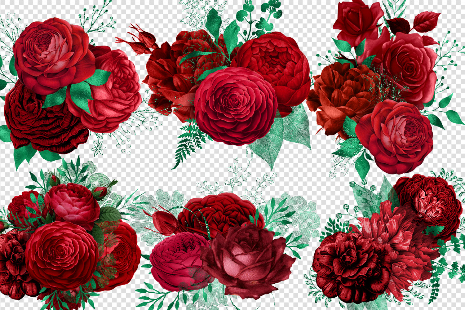 Red and Green Bouquets Clipart example image 3