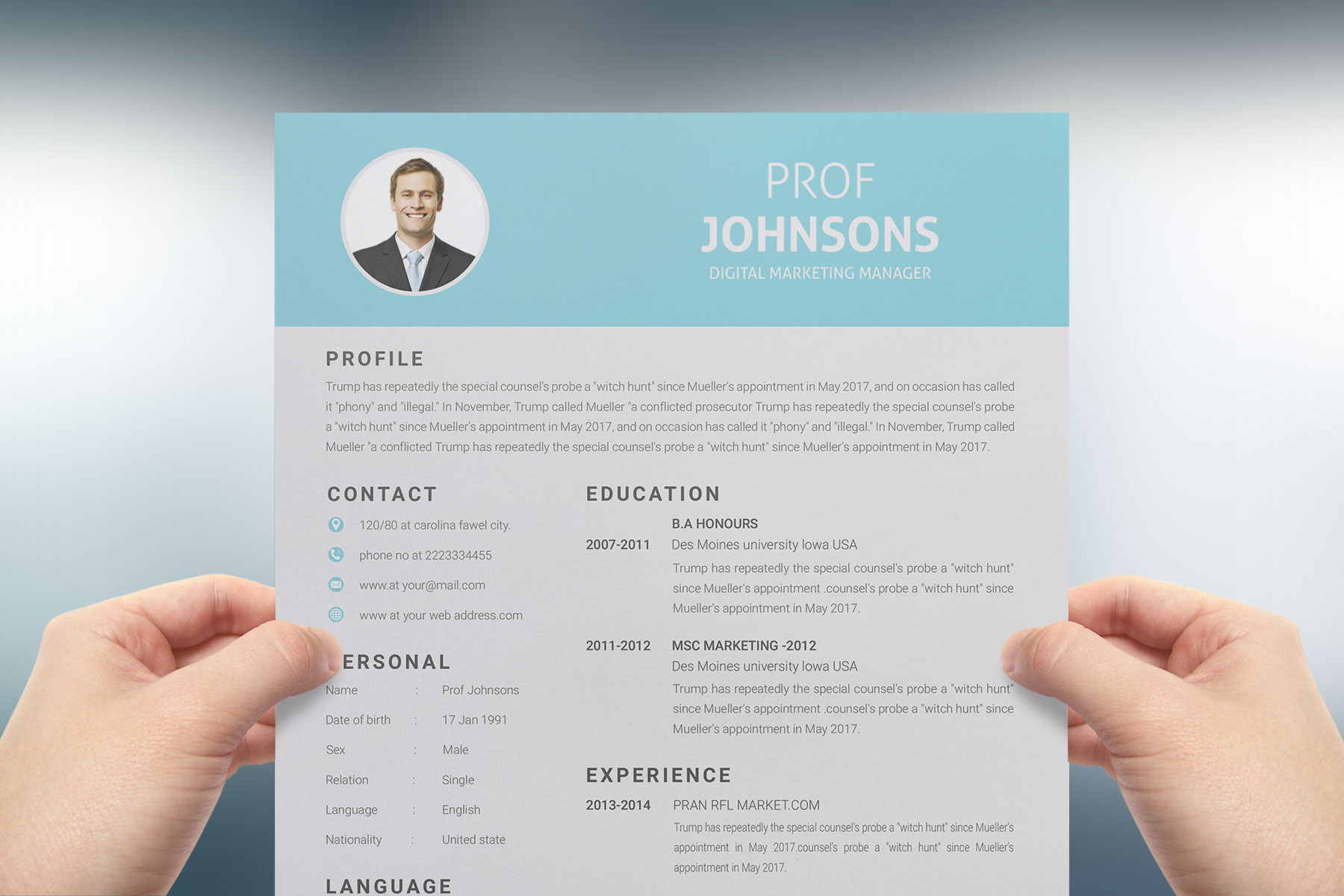 Professional Cv Resume Bonus business card Word/PSD,AI example image 2