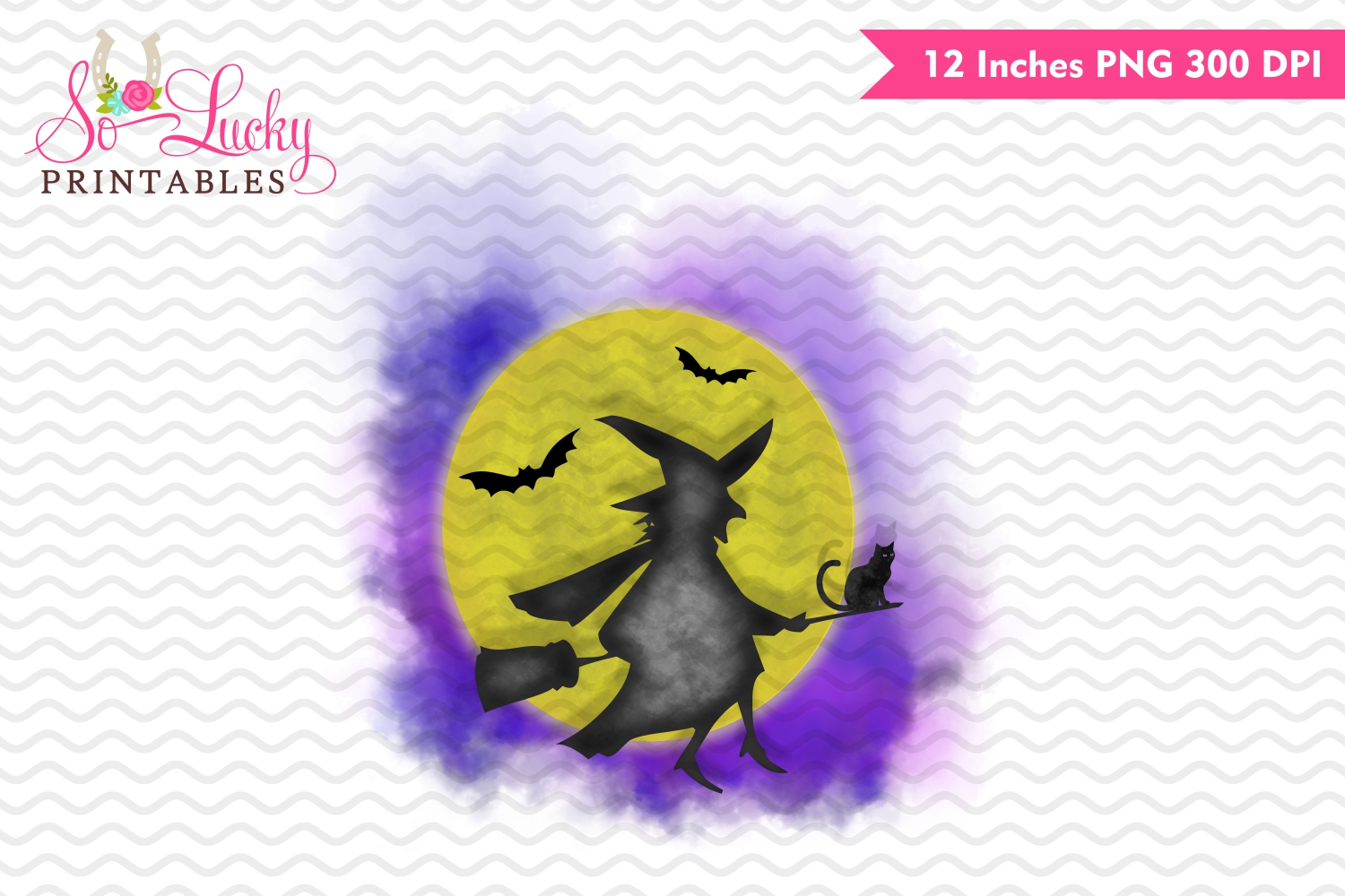 Witch moon Halloween watercolor sublimation design example image 1