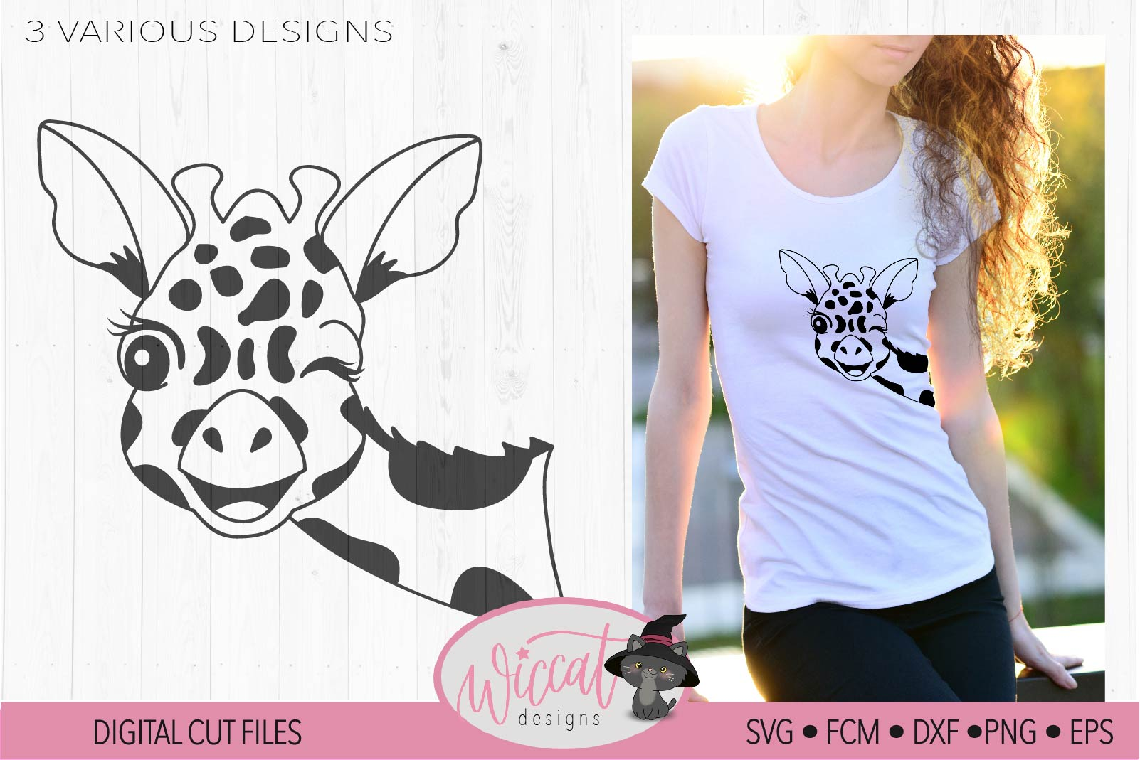 Winking Giraffe face svg, summer design example image 2