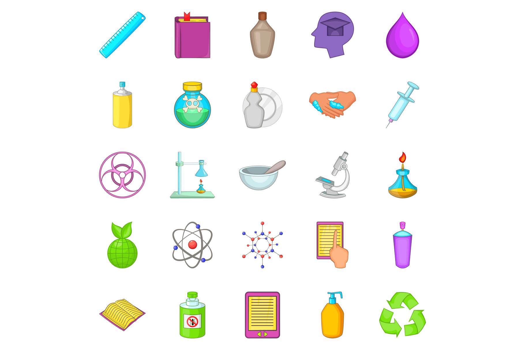 Chemical experience icons set, cartoon style example image 1