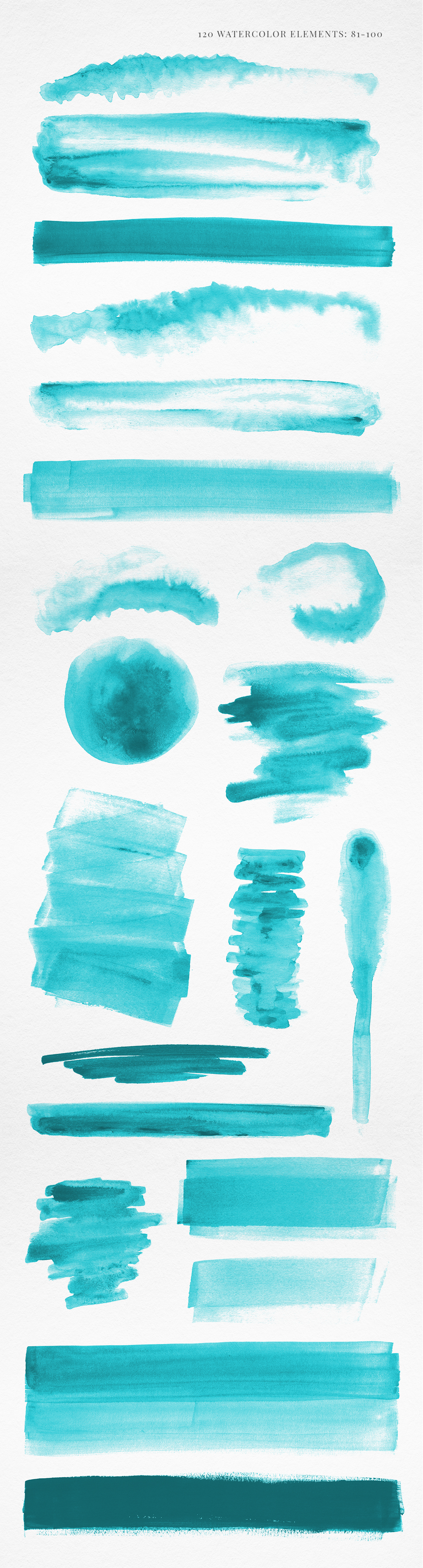 120 Turquoise Blue Watercolor Texture Elements example image 6