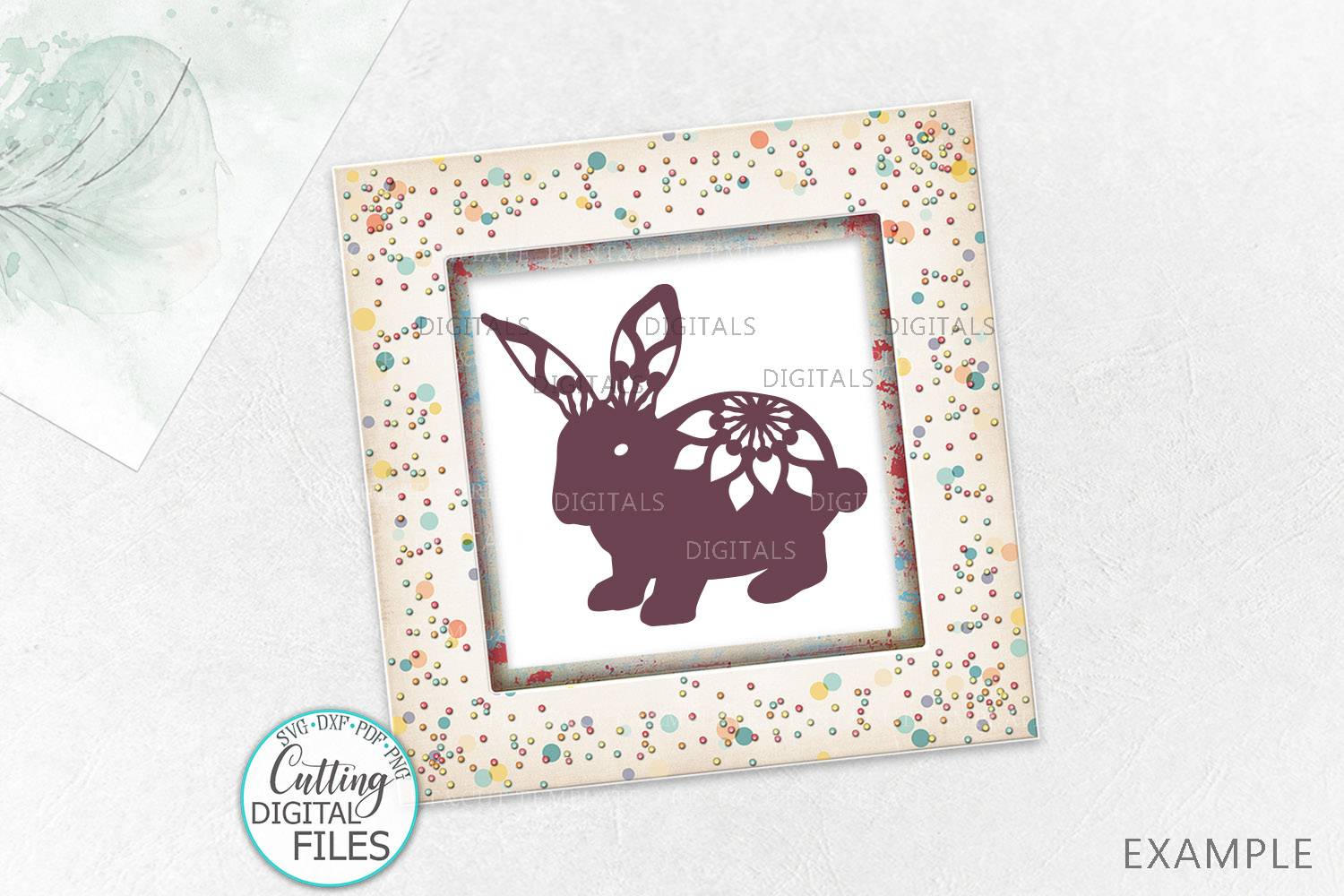 Floral Easter Bunnies set paper cut laser cut svg dxf files example image 3