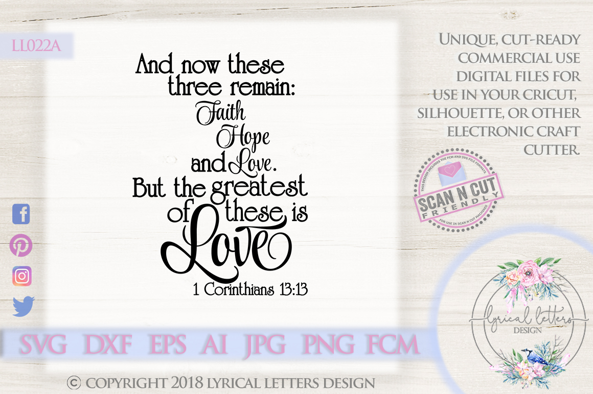 The Greatest of These is Love 1 Corinthians 13 SVG DXF LL022 example image 1