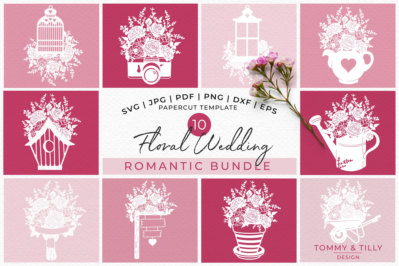 Romantic Floral Wedding Bundle - Papercut SVG DXF PNG JPG PD example image 1