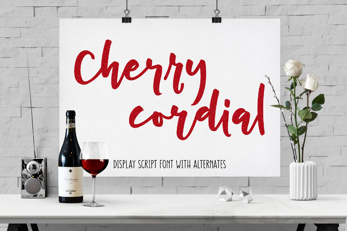 Cherry Cordial: handwritten script display font