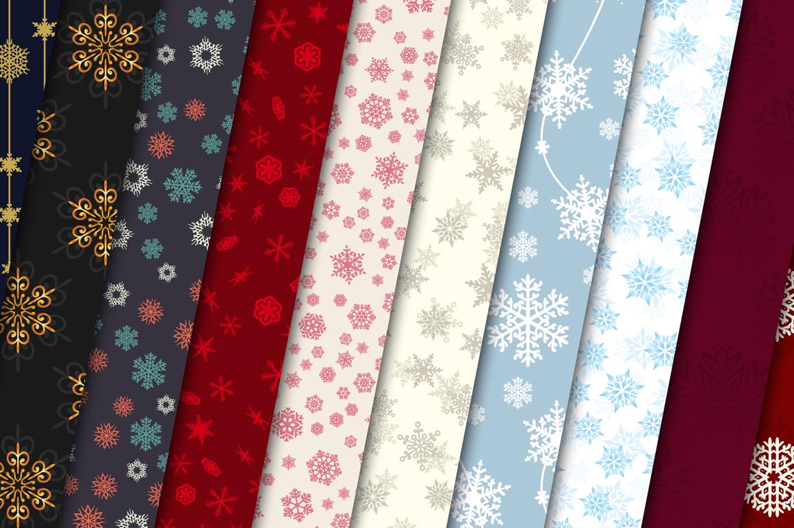 100 Snowflake Seamless Patterns example image 3